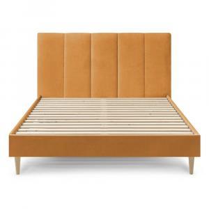 Žltá zamatová dvojlôžková posteľ Bobochic Paris Vivara Light, 160 x 200 cm