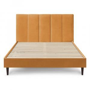 Žltá zamatová dvojlôžková posteľ Bobochic Paris Vivara Dark, 160 x 200 cm
