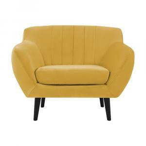 Žlté kreslo Mazzini Sofas Toscane, čierne nohy