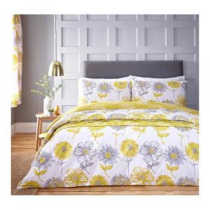 Žlté obliečky na dvojlôžko Catherine Lansfield Floral, 200×200cm