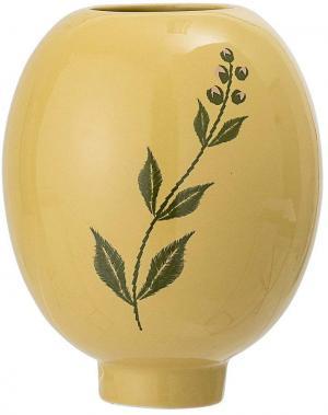 Žlto-zelená váza z kameniny Bloomingville Rose