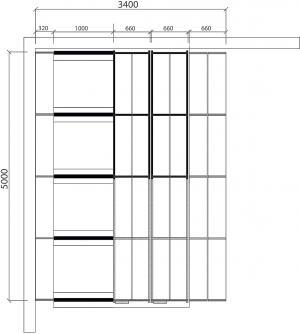 Zostava regálov, cca 17 m², 159 políc