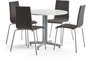 Zostava: stôl Sanna + 4 stoličky Melville, tmavošedé