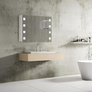 Zrkadlo do kúpeľne RIMINI, 80 cm, biele, LED svetlo
