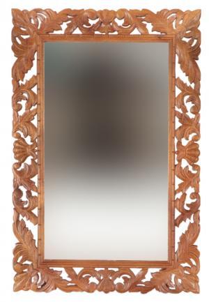 Zrkadlo Retro 60x90 ručne vyrezávané z masívu mango - Mango natural