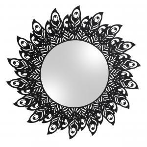 Zrkadlo s čiernym rámom Peacock Feathers