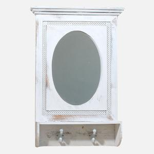 Zrkadlo s poličkou a vešiakmi