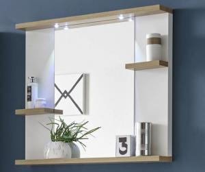 Zrkadlový panel s policami South, biela/dub riviera, LED osvetlenie