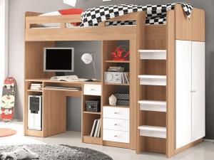 Zvýšená úložná posteľ so stolkom Unit