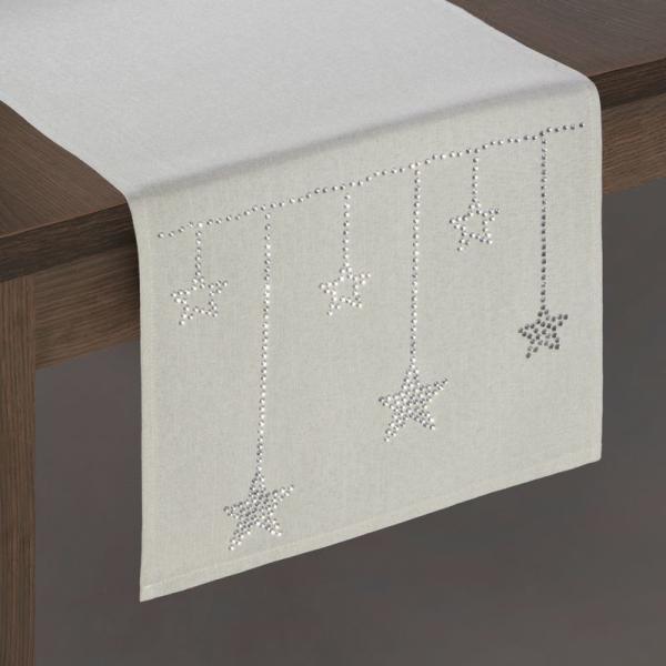 Behúň na vianočný stôl MARCO s aplikáciou zirkónových hviezd 33 x 140 cm