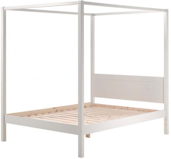 Biela detská posteľ Vipack Pino Canopy, 140 × 200 cm