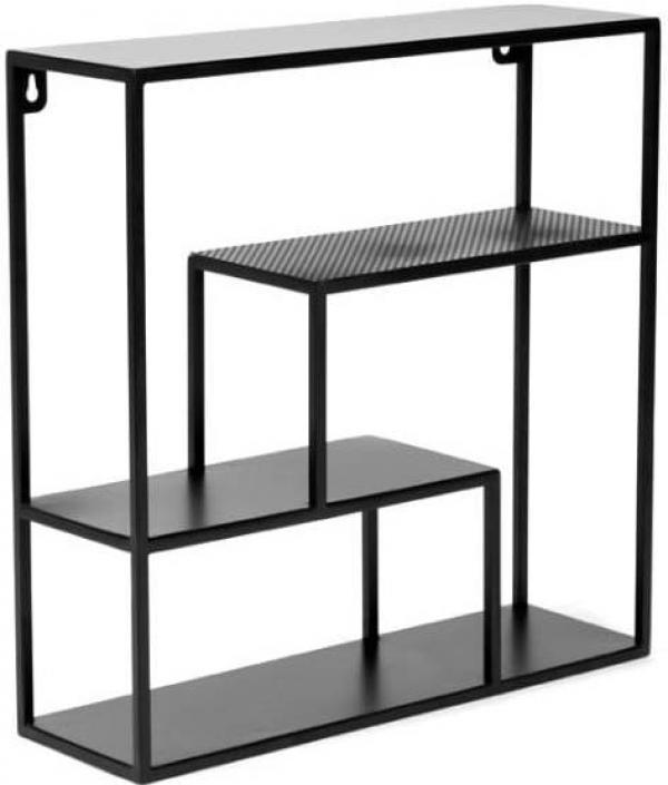 Čierna železná polica Canett Joy Bredly, 50 × 50 cm