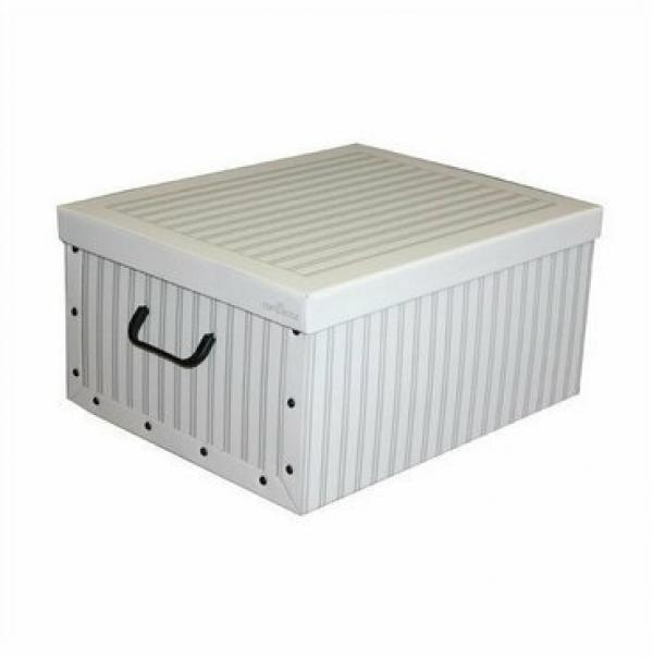 Compactor Skladacia úložná krabica - kartón box Compactor Anton 50 x 40 x 25 cm, biela / sivá