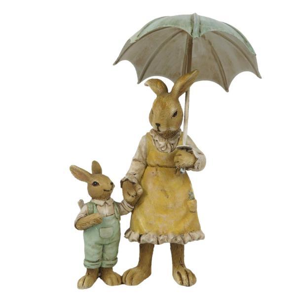 Dekorácie dvoch králikov pod dáždnikom - 9 * 4 * 13 cm