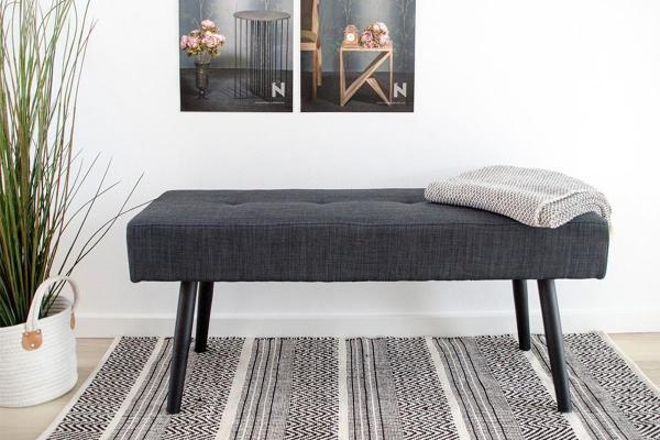 Dizajnová lavica Elaina, tmavosivá