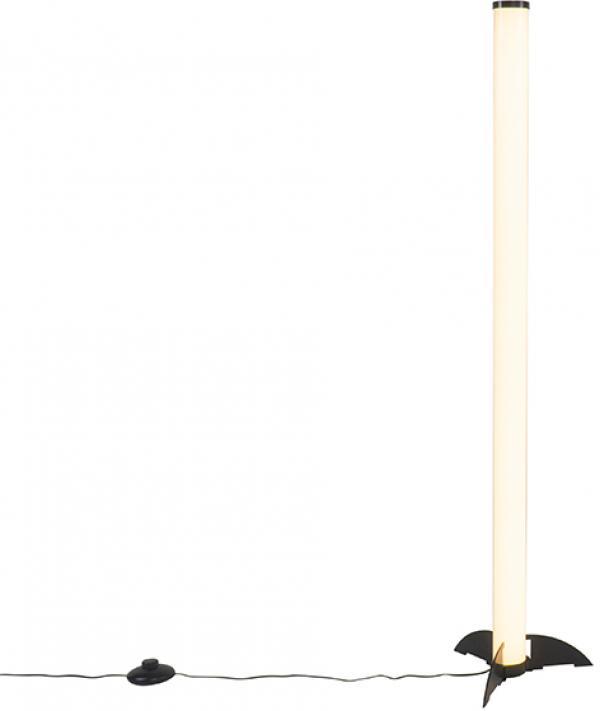 Dizajnová stojaca lampa čierna s opálom vrátane LED - Bomba