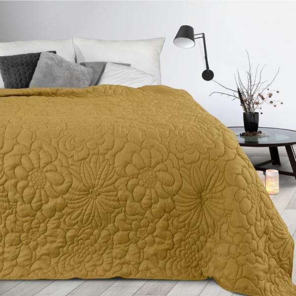 DomTextilu Matný žltý prehoz s potlačou kvetov Šírka: 200 cm   Dĺžka: 220 cm 35654-170935