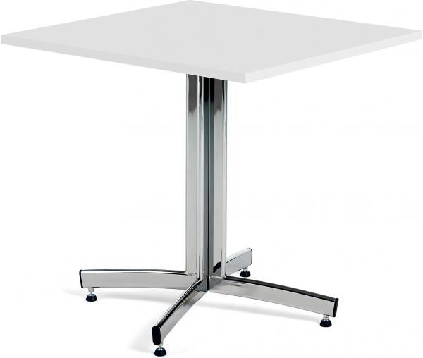 Kaviarenský stôl Sally, 700x700x720, biela, chróm