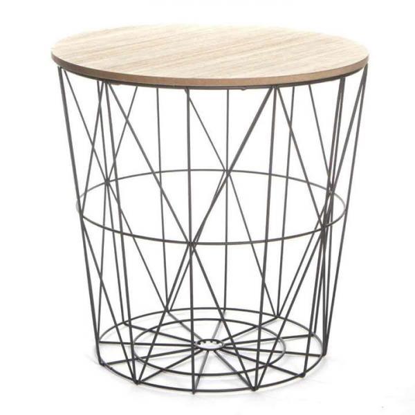 KONDELA Nancer Typ 1 okrúhly príručný stolík s úložným priestorom prírodná / čierna