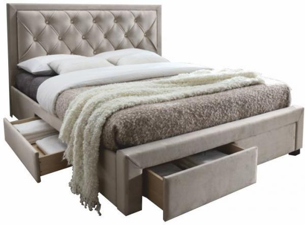 KONDELA Orea 160 čalúnená manželská posteľ s roštom sivohnedá