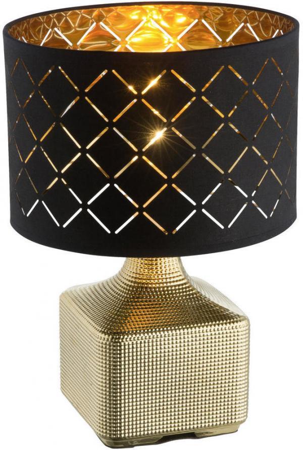 Marama STOLOVÁ LAMPA, E27, 25/38 cm - čierna, zlatá