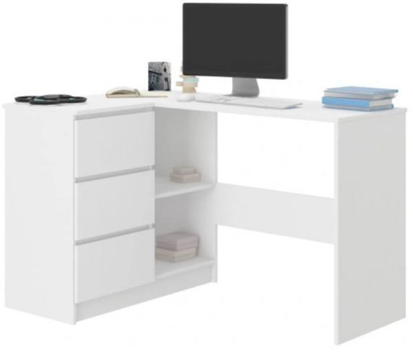 MB Písací stôl Cali roh / biela Strana: Ľavá