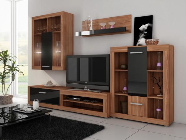 MEBLOCROSS Viki obývacia stena slivka / čierna
