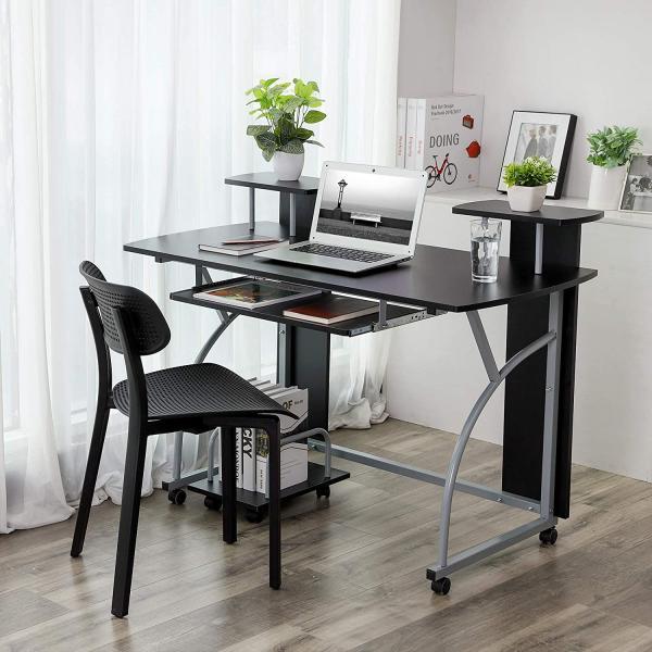 Mobilní PC stůl kovový černý 120 x 59 cm