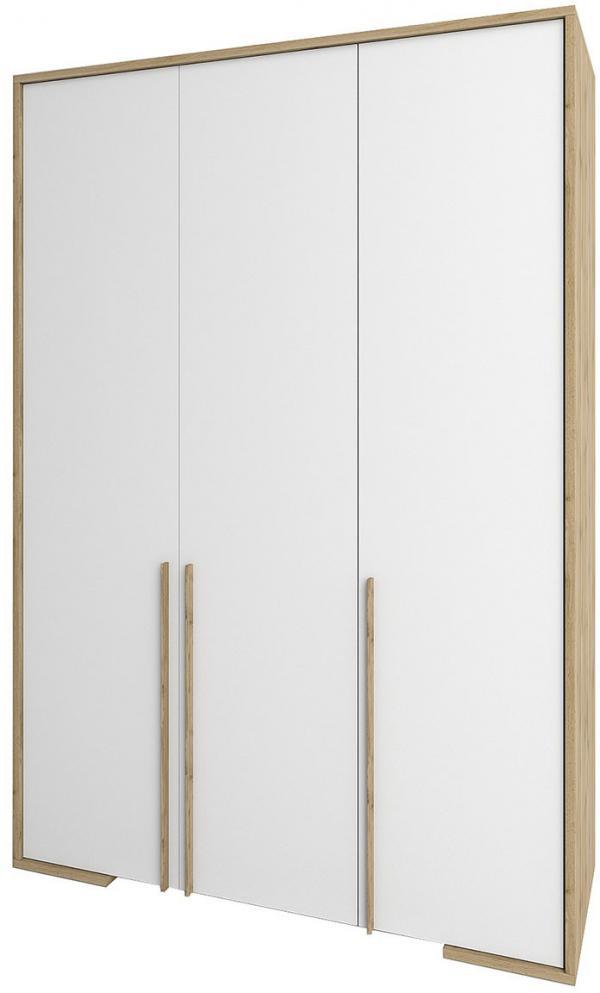 NABBI Finni W-3D trojdverová šatníková skriňa dub wotan / biela