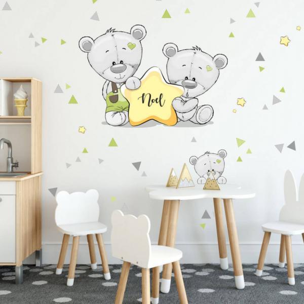 Nálepka do detskej izby Medvedíky s menom v zelenom