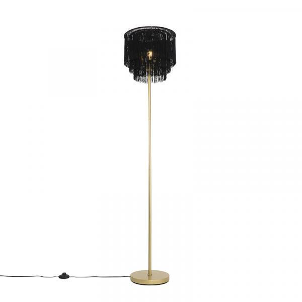 Orientálna stojaca lampa zlato čierneho odtieňa s okrajmi - Franxa