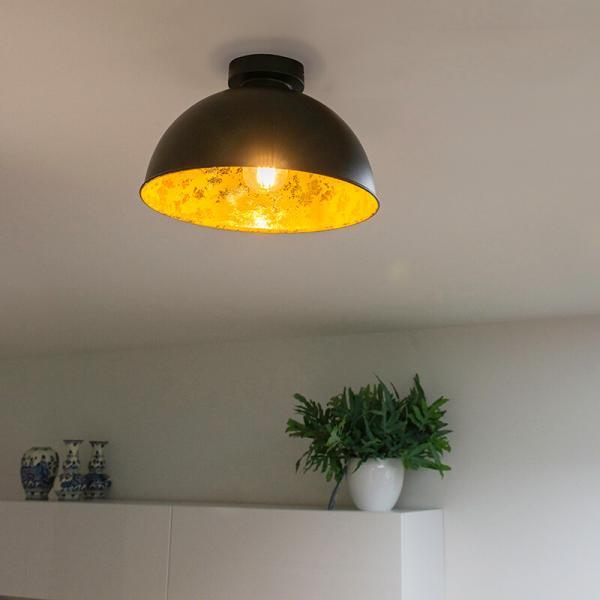 Priemyselné stropné svietidlo čierne so zlatom 30 cm - Magna Basic