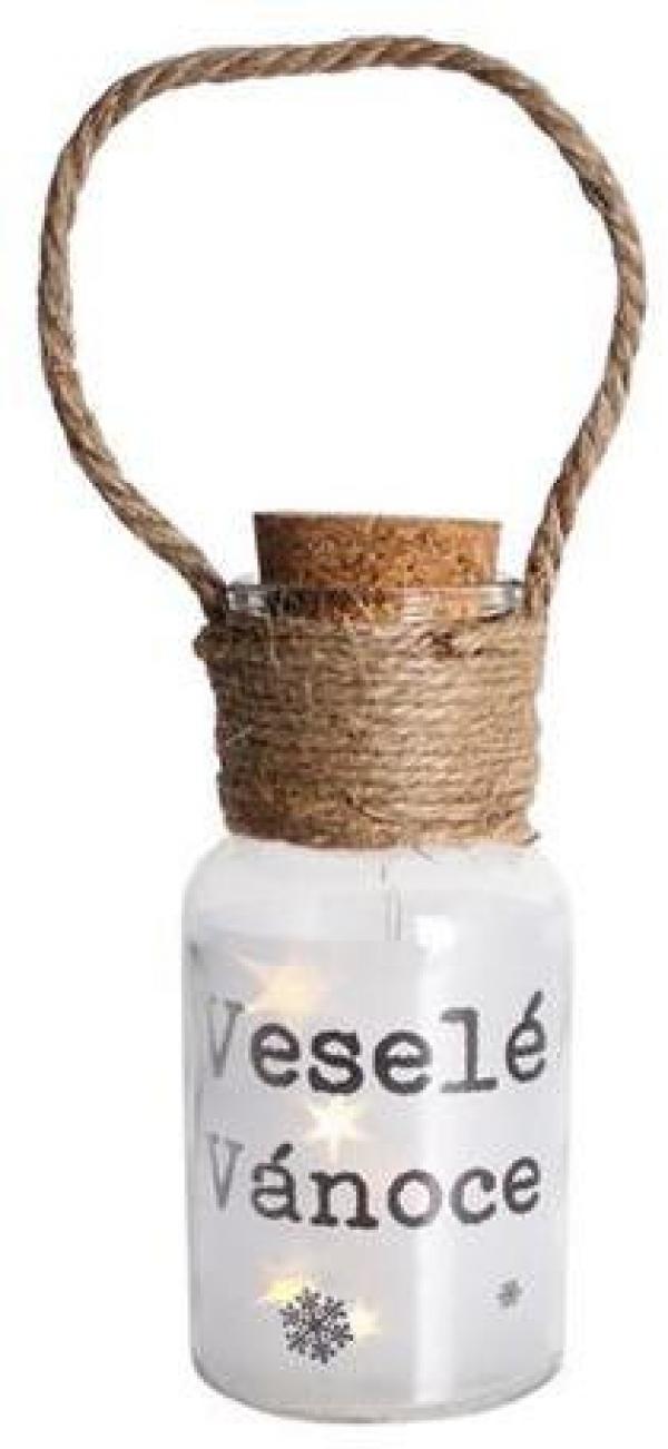 Provence Dekoračná fľaša 5 LED PROVENCE Veselé Vianoce