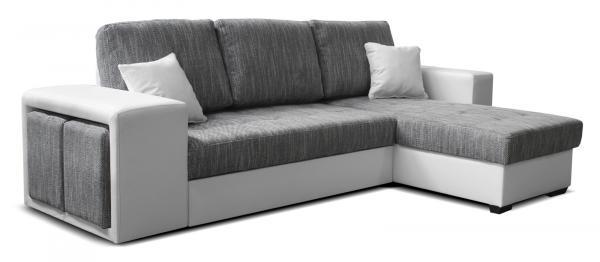 Rohová sedačka - Po-Sed - Thema Lux 2F+L (sivá + biela) (P). Akcia -14%. Doprava ZDARMA. Sme autorizovaný predajca Po-Sed.