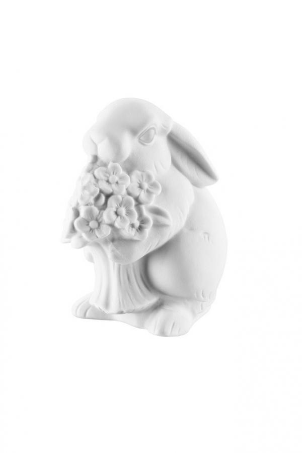 Rosenthal veľkonočná porcelánová dekorácia Zajac s kyticou, white biscuit, 10 cm