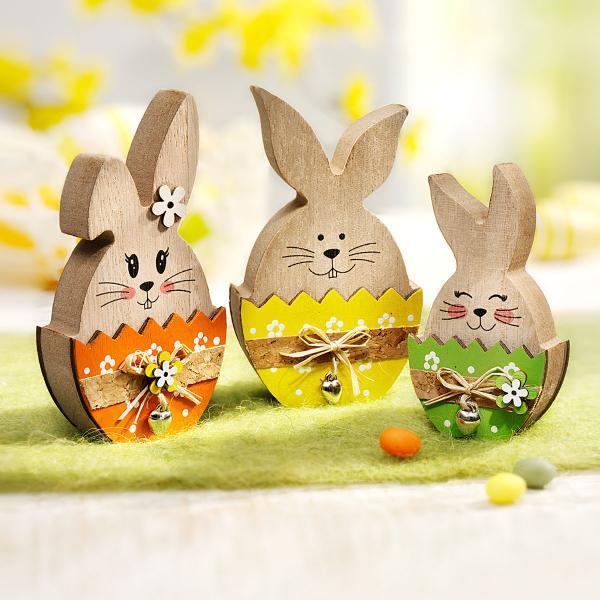 Drevená dekorácia Zajačik vo farebnom vajíčku, súprava 3 ks