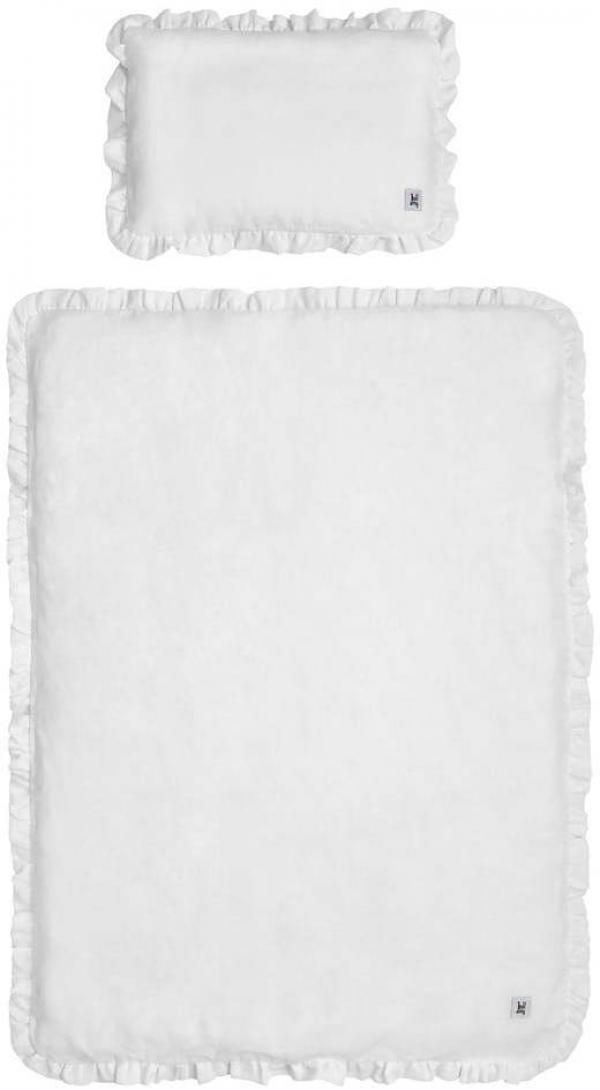 Set bielej detskej ľanovej prikrývky s vankúšom BELLAMY Snow White, 80×100 cm