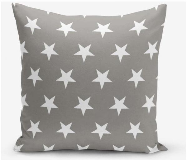 Sivá obliečka na vankúš s motívom hviezdd Minimalist Cushion Covers 45 × 45 cm
