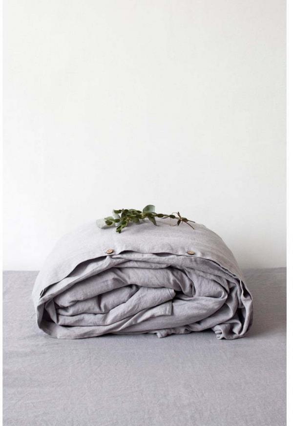Svetlosivá ľanová obliečka na perinu Linen Tales, 200 x 200 cm
