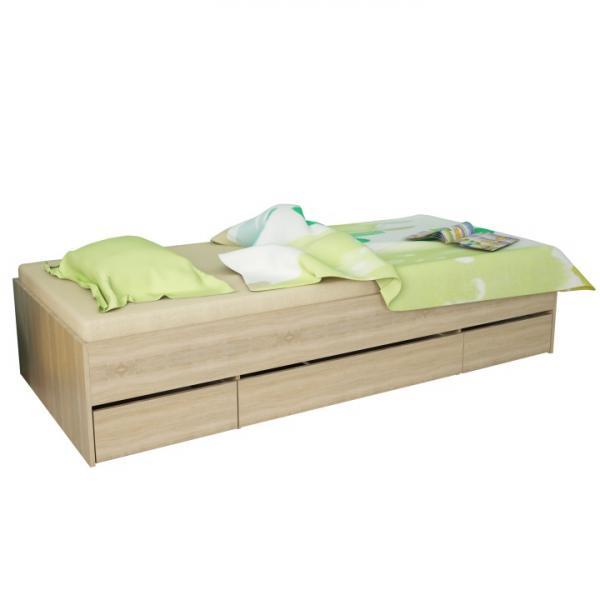 KONDELA Matiasi 90 jednolôžková posteľ s úložným priestorom dub sonoma