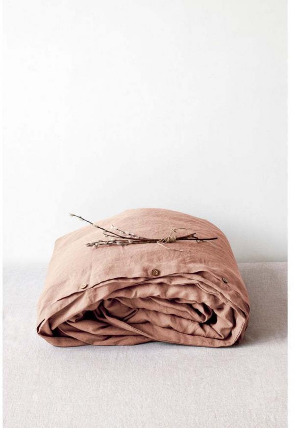 Terakotovohnedá ľanová obliečka na perinu Linen Tales, 140 x 200 cm