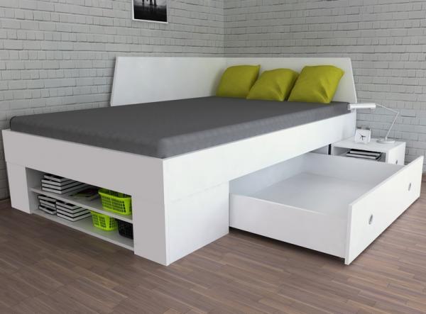 Úložná posteľ so zástenou Junior 120x200 cm, biela