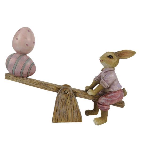 Veľkonočné dekorácie zajačika s vajíčkami na hojdačke - 16 * 3 * 12 cm