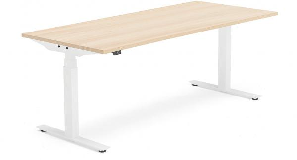 Výškovo nastaviteľný stôl Modulus Smart, 1800x800 mm, biela, dub