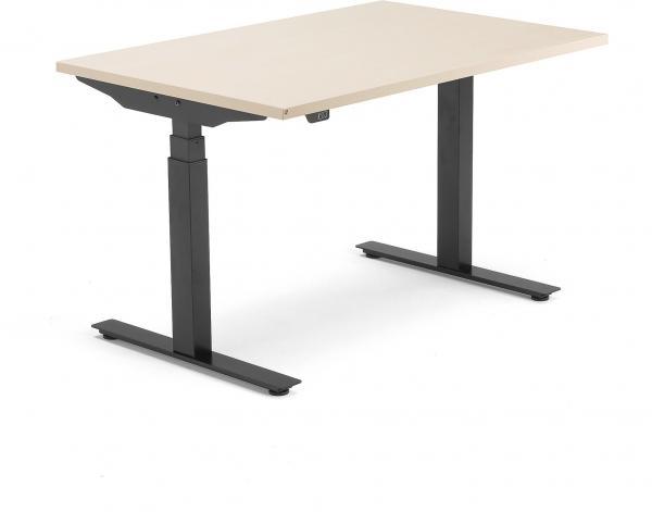 Výškovo nastaviteľný stôl Modulus, T-rám, 1200x800 mm, breza/čierna