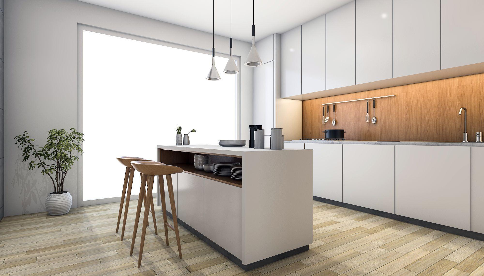 Moderná biela kuchyňa s ostrovčekom v minimalistickom štýle