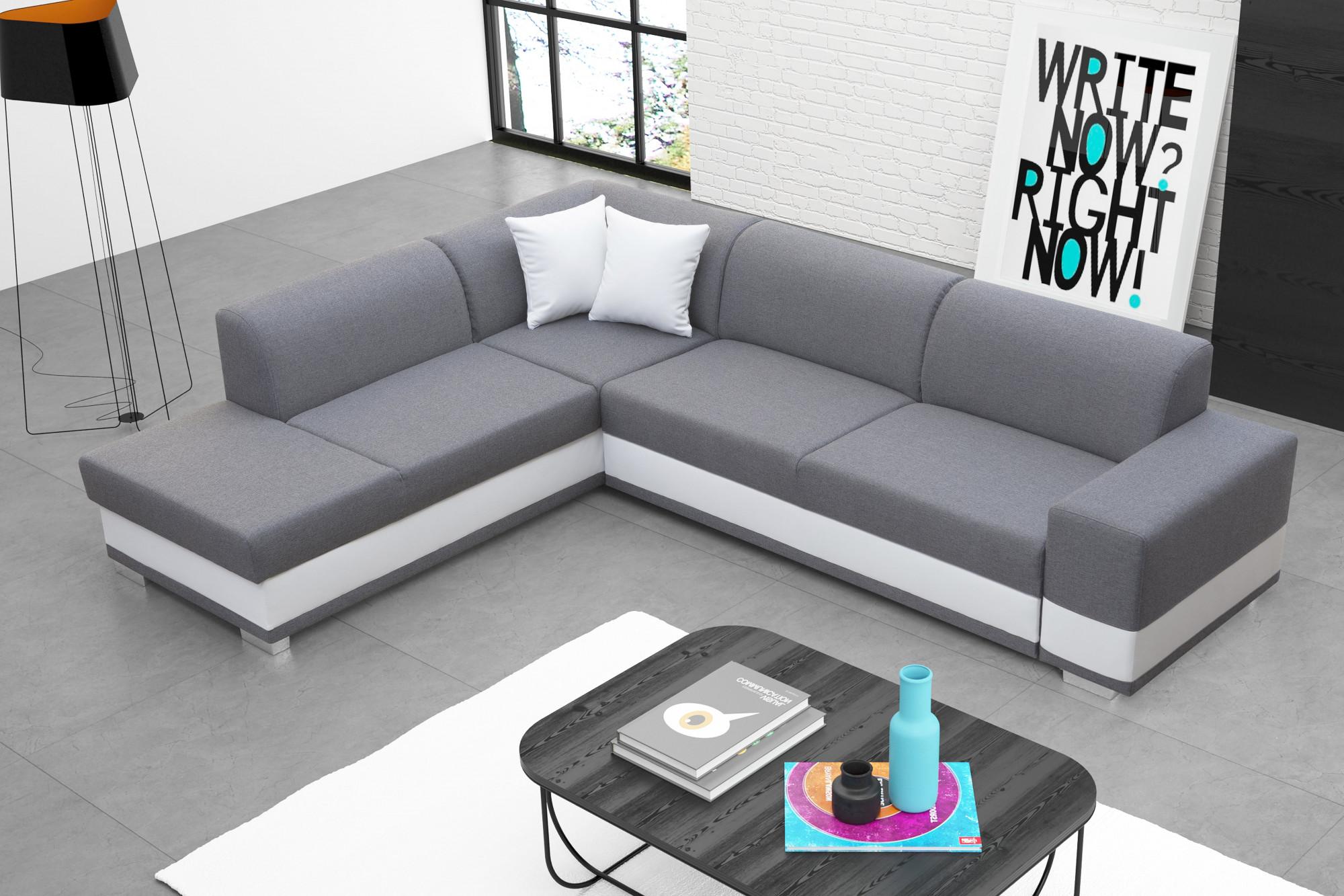 Moderná rohová sedačka v sivobielom prevedení