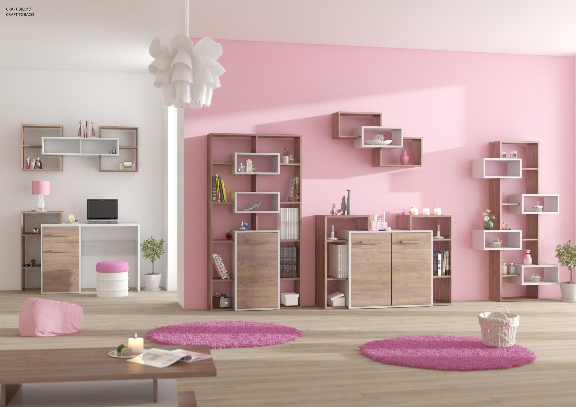 Ružová dievčenská izba s moderným nábytkom
