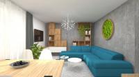 Obývačke dominuje tyrkysová sedačka