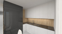 Čierno-biela kuchynská linka s drevenou zástenou
